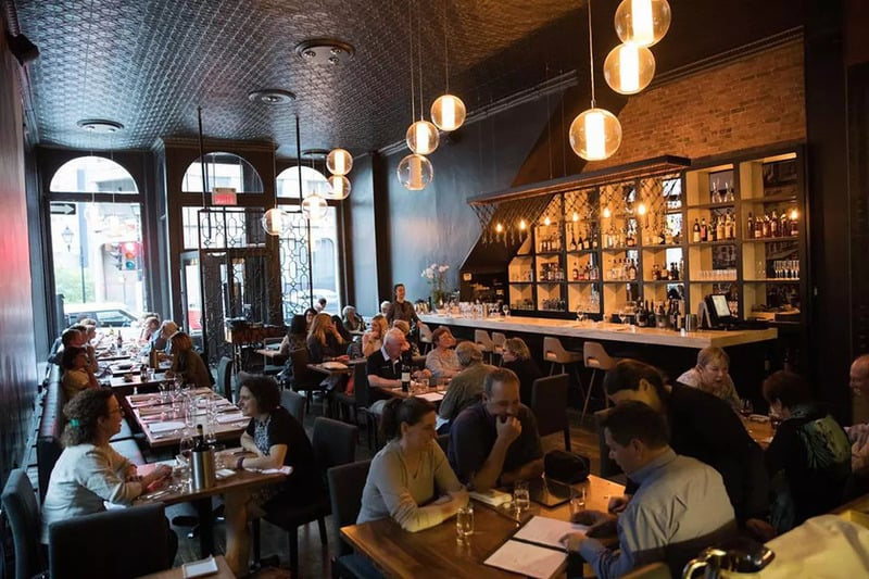 A cozy evening in Les 400 Coups restaurant in Montreal